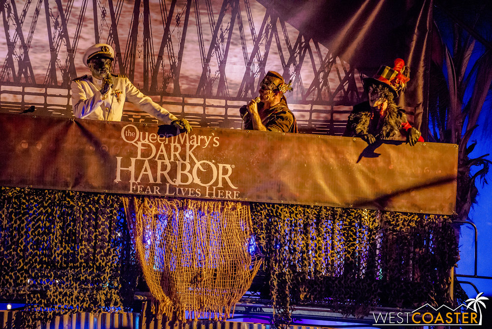 The Captain, the Iron Master, and the Ringmaster, greeting visitors entering Dark Harbor.