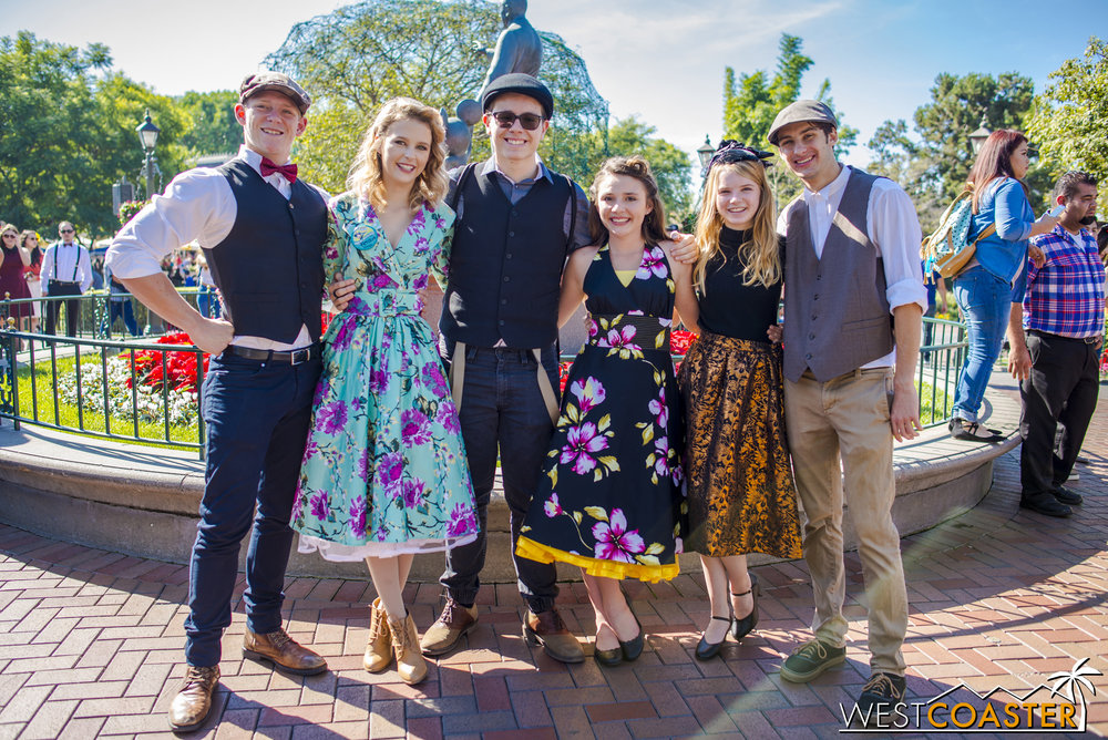 Many people come in sizeable groups for Dapper Day.