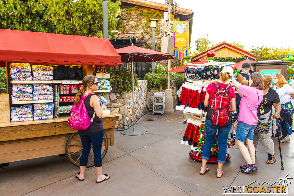 Christmas-y wares are available a-plenty at the Festival Marketplace.