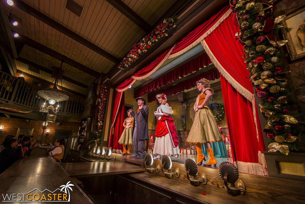 Knott's Merry Farm features a holiday version of the enjoyable Calico Saloon Show, complete with the same characters as the normal show.