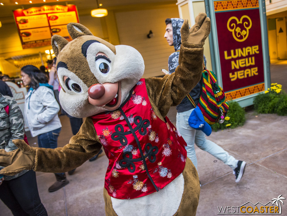 Outside, Chinese Chip and Dale roam the grounds.