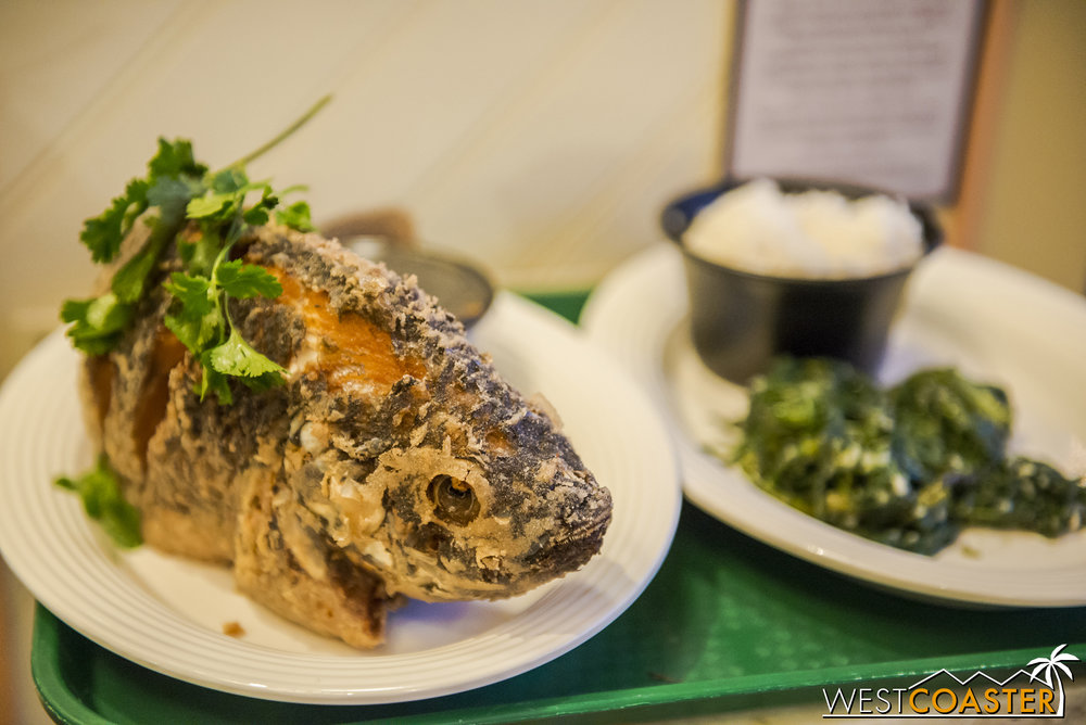 The Fried Tilapia is done in a traditional Vietnamese style.  This was the one dish no one in my group ordered, but it certainly looked delicious and fairly popular!  It came with soup, white rice, and Chinese water spinach (ong choy or tong sum choy).