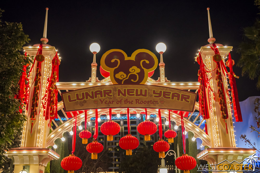 At night, the red lanterns and decorations contrast nicely with the warm lighting.