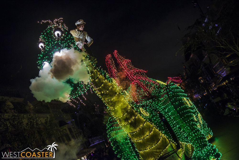 Pete's Dragon may have been a flop at the theaters, but this float has been a constant of the Main Street Electrical Parade for many, many years!
