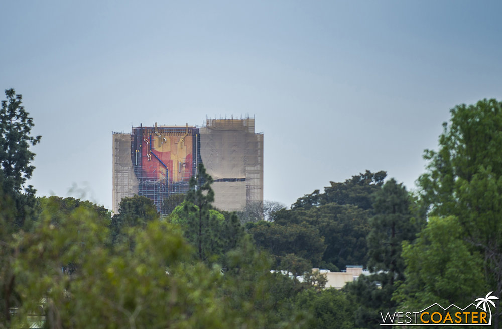 The former Tower of Terror as seen from the Mickey and Friends parking structure.