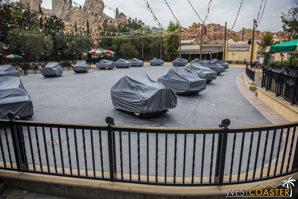 Luigi's Rollickin' Roadsters are NOT down for refurbishment; they just can't run when it's raining (or sprinkling, like it was Friday).