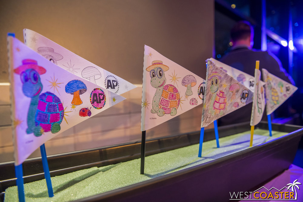 A separate activity area is available for kids who want to color their own pennants.