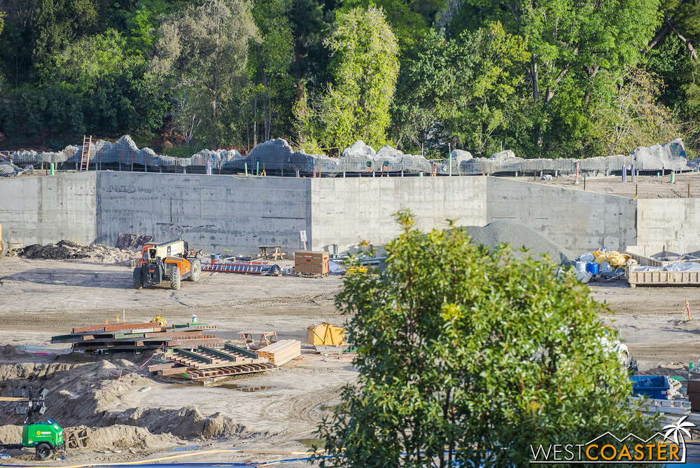 You can see the backside of the plaster that is forming the rockwork that will blend into the American West rustic setting of the Rivers of America.