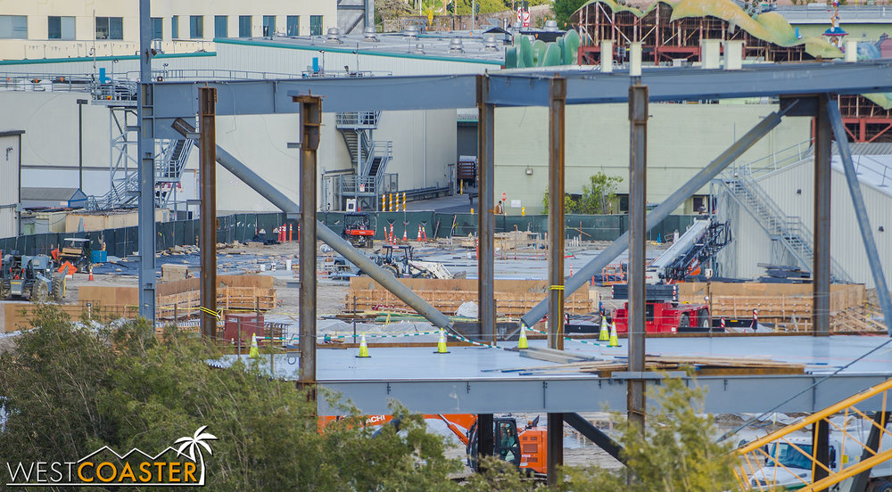 Glimpsing through the first E-Ticket building gives a little view of the area over by Mickey's Toontown, where the second E-Ticket is slated to be built.  Formwork for concrete and foundation prepping continues.