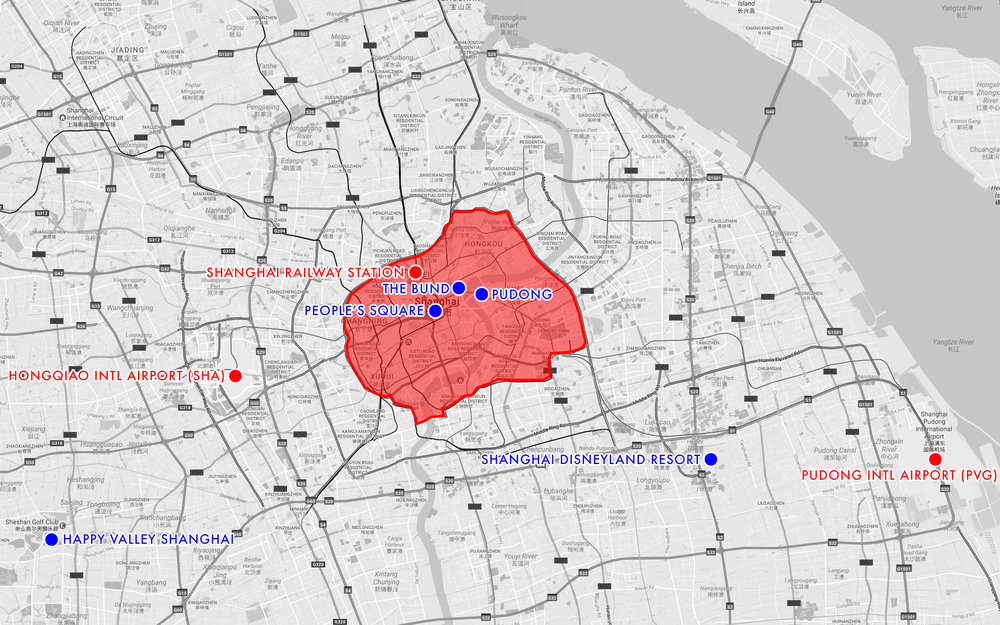 "A comparison of Shanghai's two major international airports and main train station (in red) in relation to each other, plus several inside- and outside-of-city popular destinations for comparison.  The red outlined area is my subjective ""tourist area of interest"" part of Shanghai--i.e. the outline of areas most tourists would visit."
