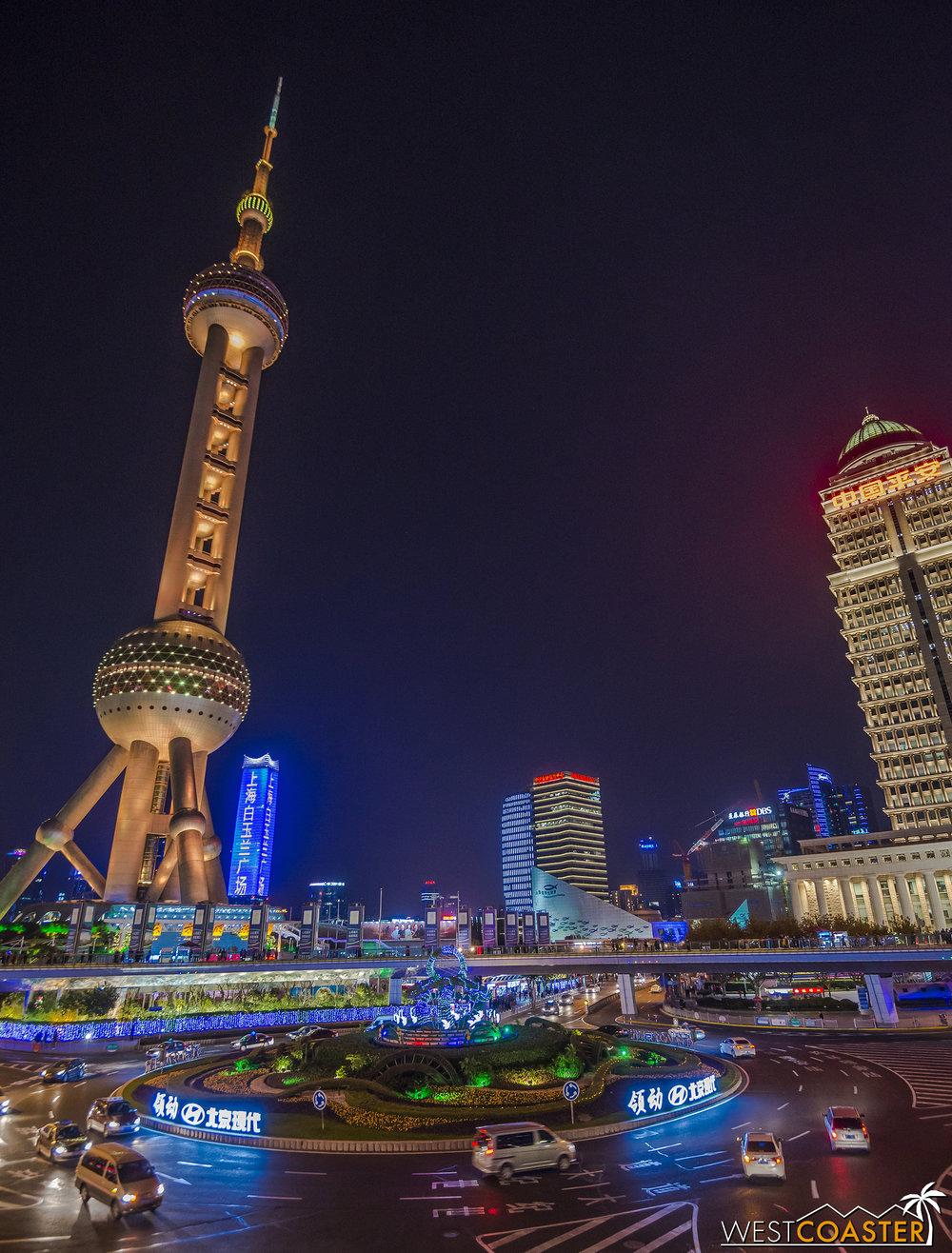 The Oriental Pearl Television Tower is iconic and unique and anchors the Lujiazui part of Pudong, on the east bank of the Huangpu River that runs through the city.