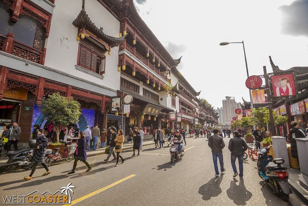 The Yuyuan neighborhood offers a large collection of shops, restaurants, and sights.  It's a hybrid of tourist trap and authentic bazaar--clearly designed to lure strolling travelers but also permitting of haggling and authentic knockoff Chinese wares.