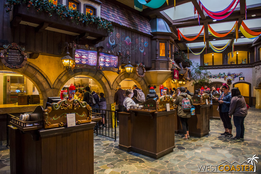 The food counter area is the same, with little details spruced in to distinguish the old  Pinocchio  ambiance from the new  Beauty and the Beast  environment.