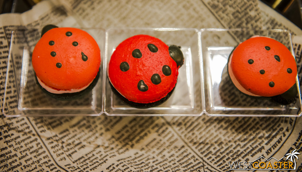 These ladybug macarons were pricey (3 for $9.99) but delicious--bites of sweet strawberry cream and more tart berry filling.