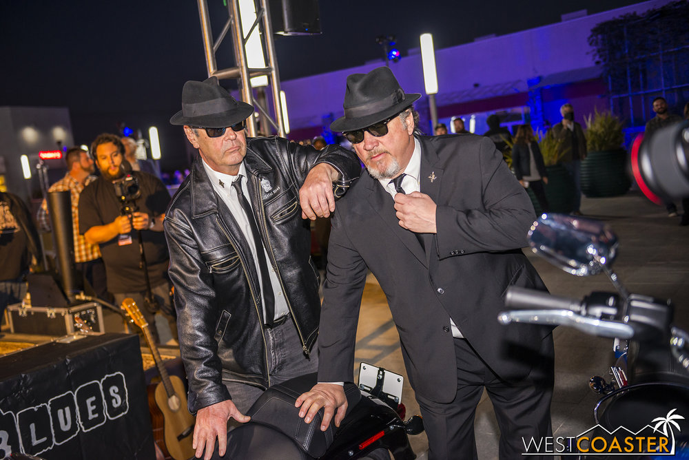 The Blues Brothers conduct the grand opening festivities.