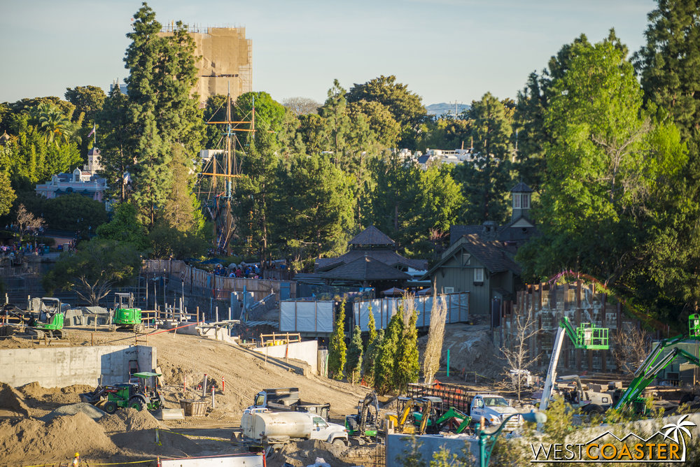 "Guardians of the Galaxy is still fully concealed this week, but the back and one side of the building has actually been completely uncovered with scaffolding taken down to reveal the tower's new paint job, which might be best described as ""Tomorrowland 1998 Revival."""