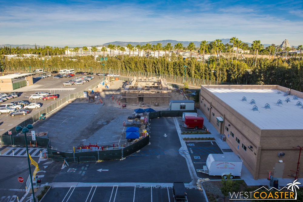 Over at the Mickey and Friends Parking Structure side, work continues whatever-it-is they're building over here.