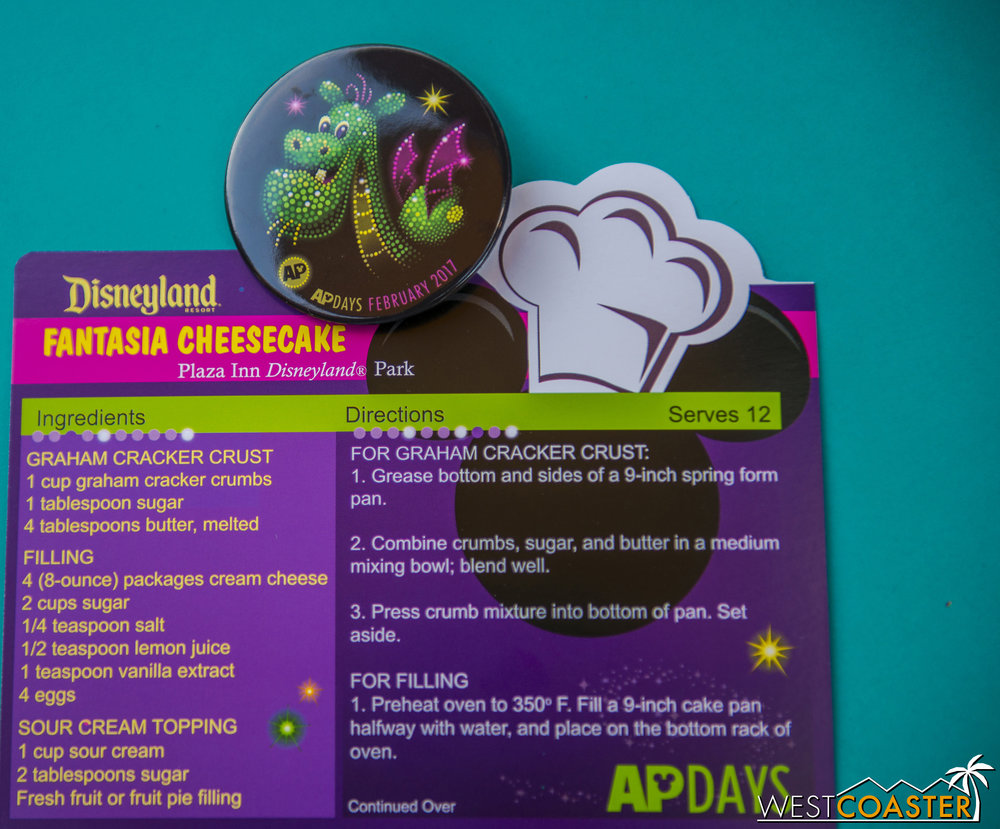 It's the last week of AP Days.  This week's AP button features Elliott the dragon, and the recipe card provides instructions on making cheesecake!  A pretty sweet deal, if you ask me.