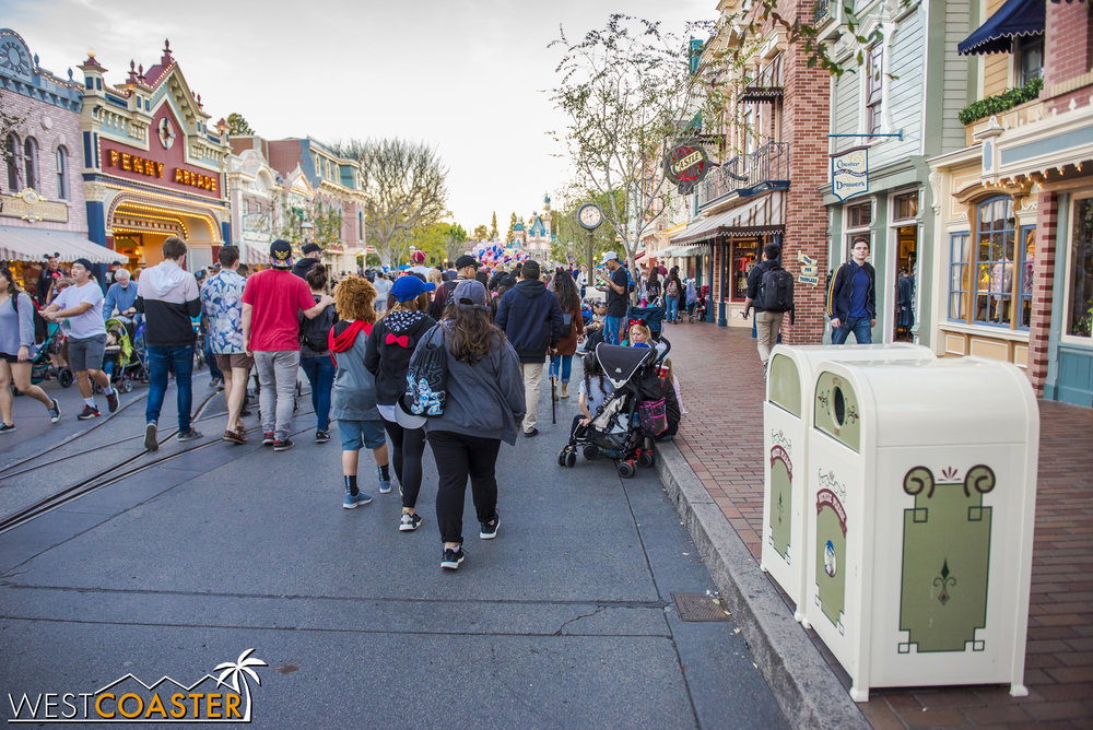 In other news, the parks have implemented a new policy that restricts people from camping out for parades and fireworks until ropes are set up for the viewing areas of those entertainment pieces.  Although guests can sit on the sidewalk to take a break or to wait momentarily for friends, if it appears that people are sitting specifically to camp out for a show, Cast Members may direct them to leave.  The policy is intended to free up congestion caused by people waiting hours upon hours for these events.  Also no longer allowed is the practice of saving spots for friends and family members not presents.  As such, blankets and mats are no longer allowed to be placed on the ground to signify space reservation.  Through the first weekend of this change, it didn't look like there was much consistency in enforcement, though.  So expect a few bumps along the way to getting guests trained.