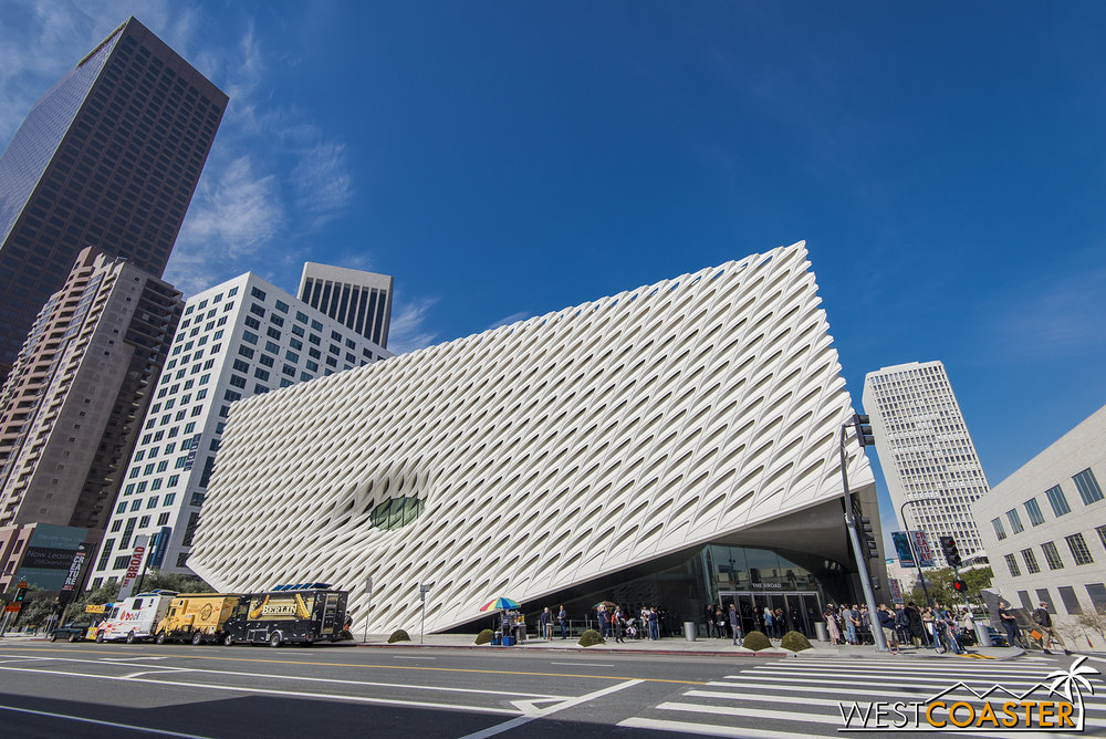 The lovely and dazzling exterior of The Broad was an instant architectural icon when it opened.