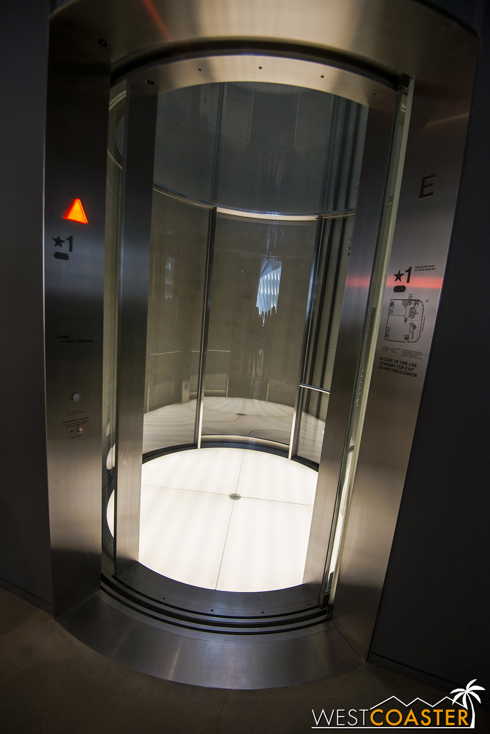 The sleek, cylindrical glass elevator.