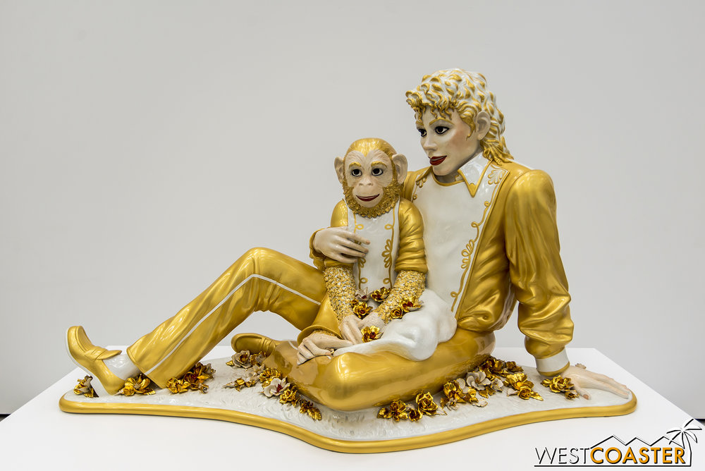Jeff Koons'  Michael Jackson and Bubbles , also previously seen at LACMA.