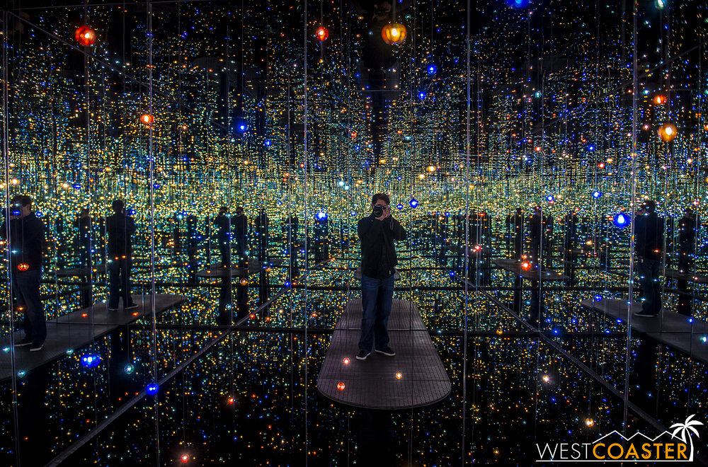 Standing inside the  Infinity Mirrored Room .