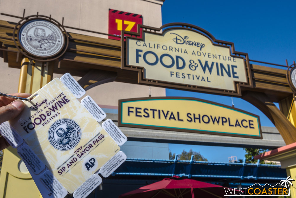"Back this year is the Annual Passholder tasting pass, called the ""Sip and Savor Pass"" this year, which effectively provides a discounted way of purchasing food and non-alcoholic beverage items at the Festival Marketplace.  It is $45 for 8 tabs, which means 8 dishes.  This is more expensive than last year's $42 pass but a better value, because last year's pass was only good for 6 dishes.  It also means that, doing the math, it's worth it to spend on food items $5.75 or more, if you divide the total cost of the pass by 8.  There are plenty of dishes at that mark or higher, but I wouldn't use this on, say, desserts and drinks.  In addition, the pass does not have to be used all in one day.  It is valid through April 16, so guests who can't use up all the tabs on one visit can come again by that date and still take advantage."
