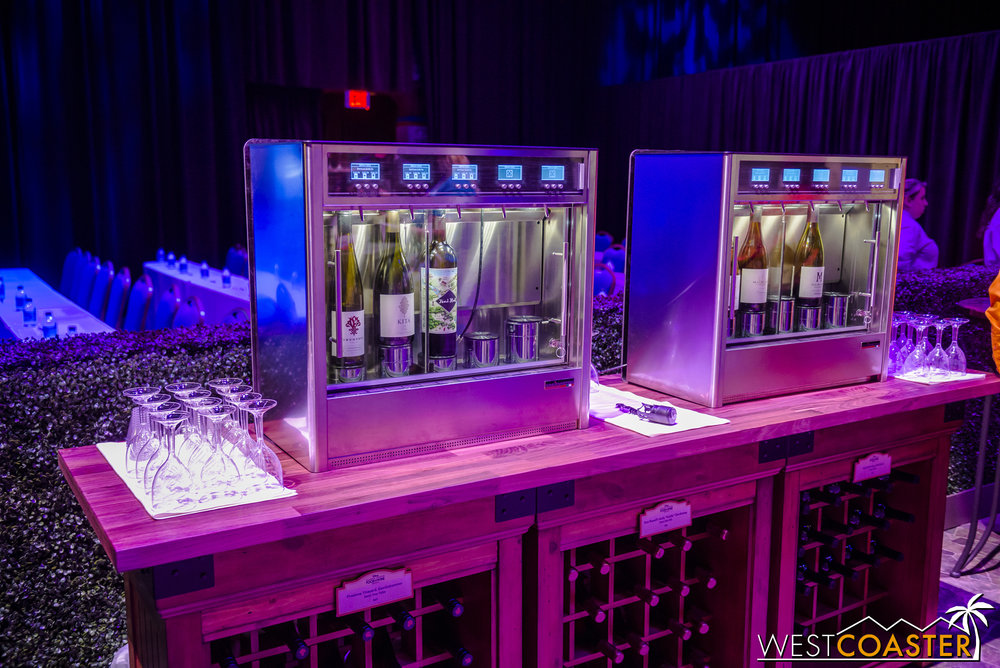 Wine fridges and wine on display (for wine sampling).