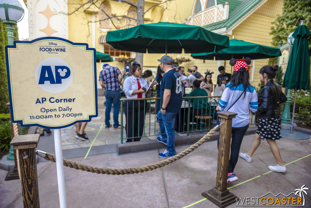 Over in Paradise Pier, beside the Garden Grill, an AP Corner has been set up for Annual Passholders to collect their button, which will be different each week, and get a photo op.