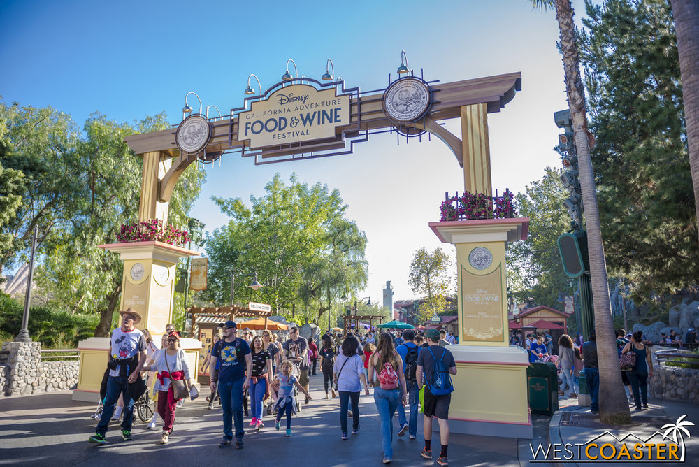 Entering the Pacific Wharf / Paradise Pier portion of the Festival Marketplace, after passing by Carthay Circle.