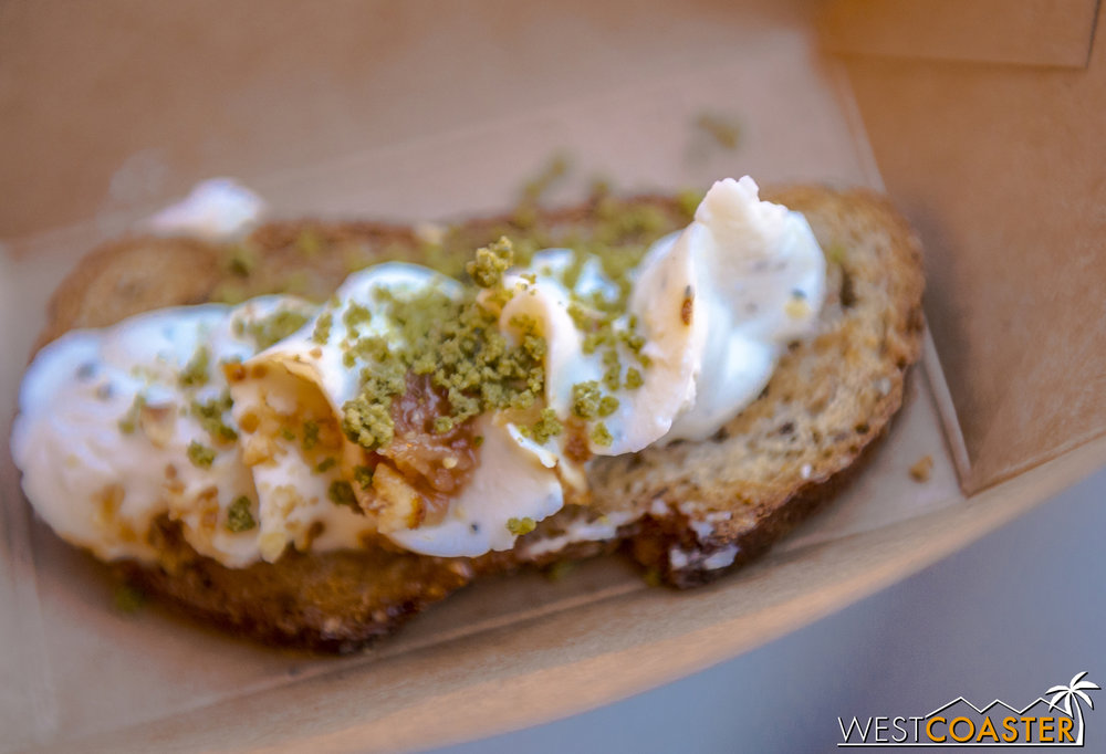 From Nuts About Cheese:  Chèvre Fromage Blanc Tartine  infused with Rosemary and Honey, with Toasted Hazelnuts ($4.50)