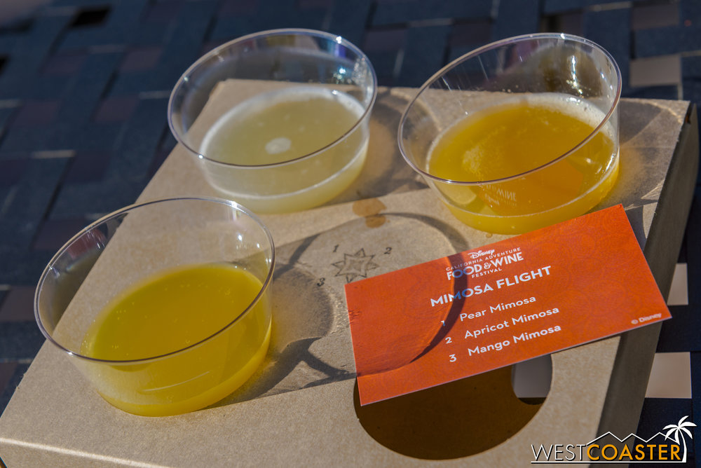 From Uncork California:  Flight - Mimosa   Pear Mimosa, Apricot Mimosa, Mango Mimosa ($16.00)