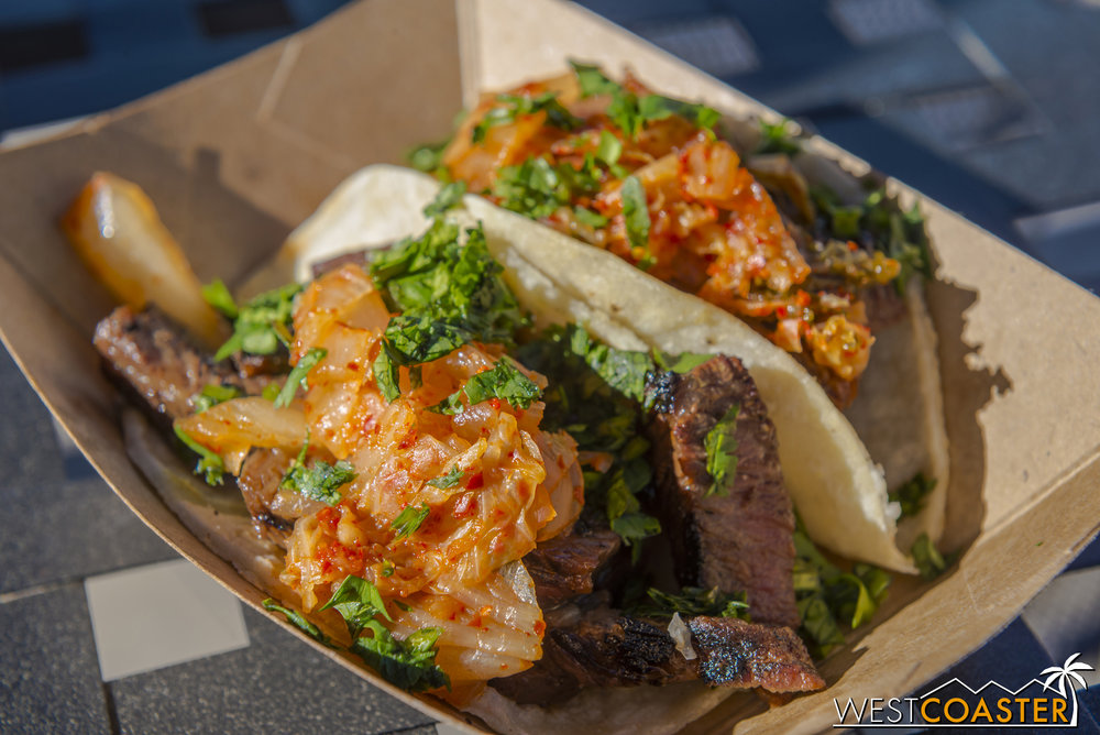From LA Style:  Korean Barbecue Beef Short Rib Tacos  with Kimchi Slaw ($7.00)