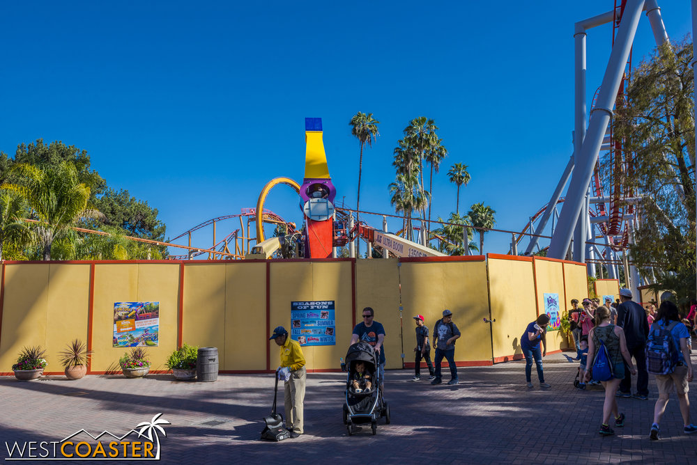 In Fiesta Village, workers were actually working on the Sol Spin attraction on a Saturday.