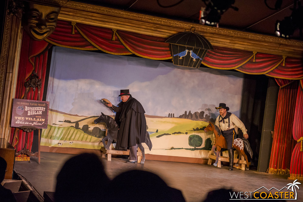 The show climaxes with a daring chase.  Does the Sheriff win and apprehend our villain?  Watch the show to find out!