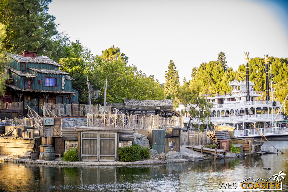 All along the front of the Rivers of America, theming elements have been reassembled and placed back to hide nighttime FANTASMIC! intrastructure.