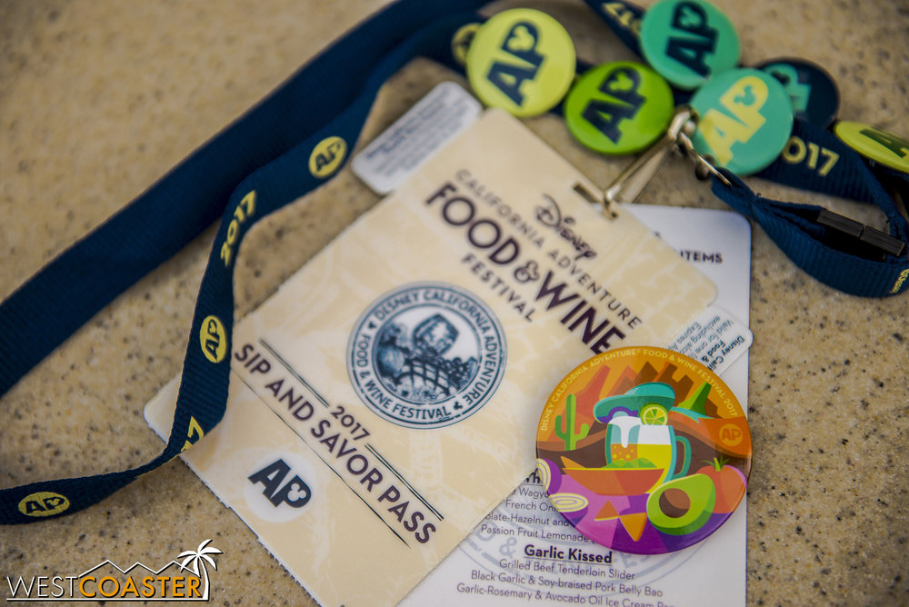 This week's AP button is shown next to a Sip and Savor Pass, which allows annual passholders to sample (8) food items for a total of $45.  As I mentioned in the Food & Wine Festival update, use this on food dishes $5.75 or more to get your money's worth.