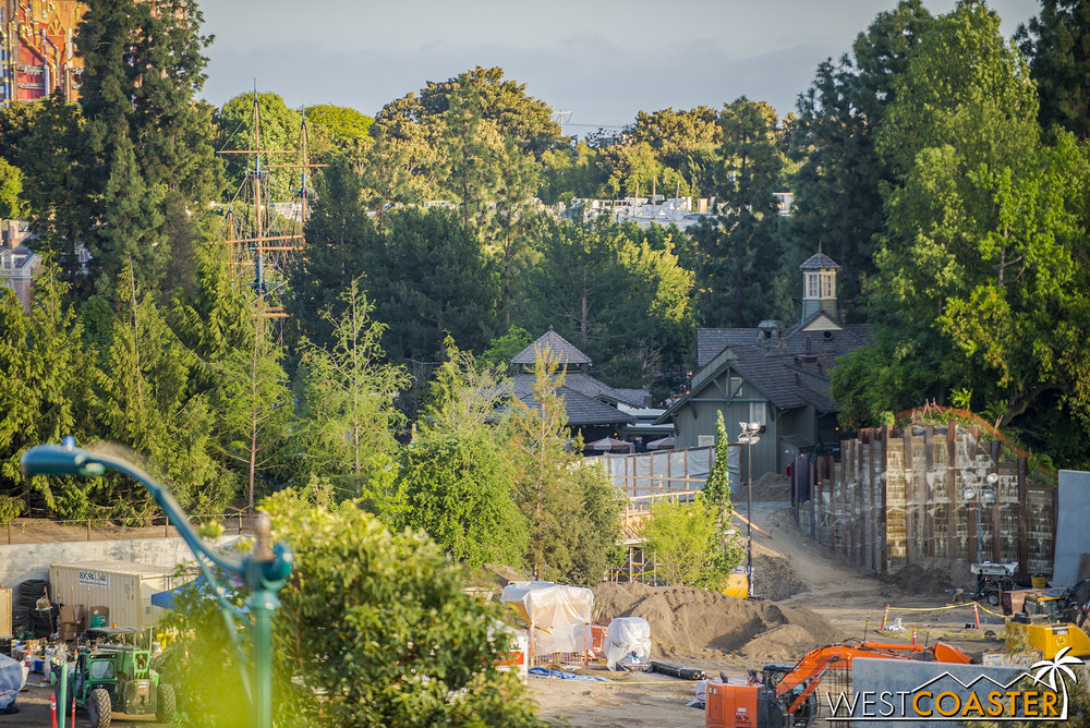 "If you squint and look real close, you'll notice that they've started putting up scaffolding and formwork to build the bridge that will take the Disneyland Railroad over the Critter Country entry pathway into ""Star Wars"" Land."