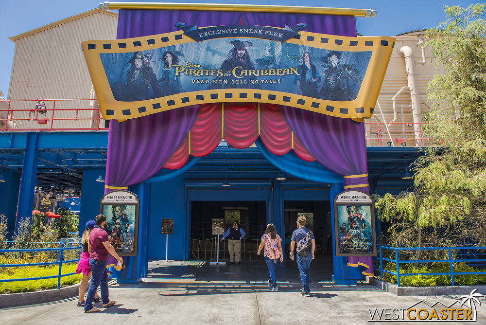 If you want an extended preview of the new Pirates movie, check it out in the old MuppetVision Theater in Hollywood Land.