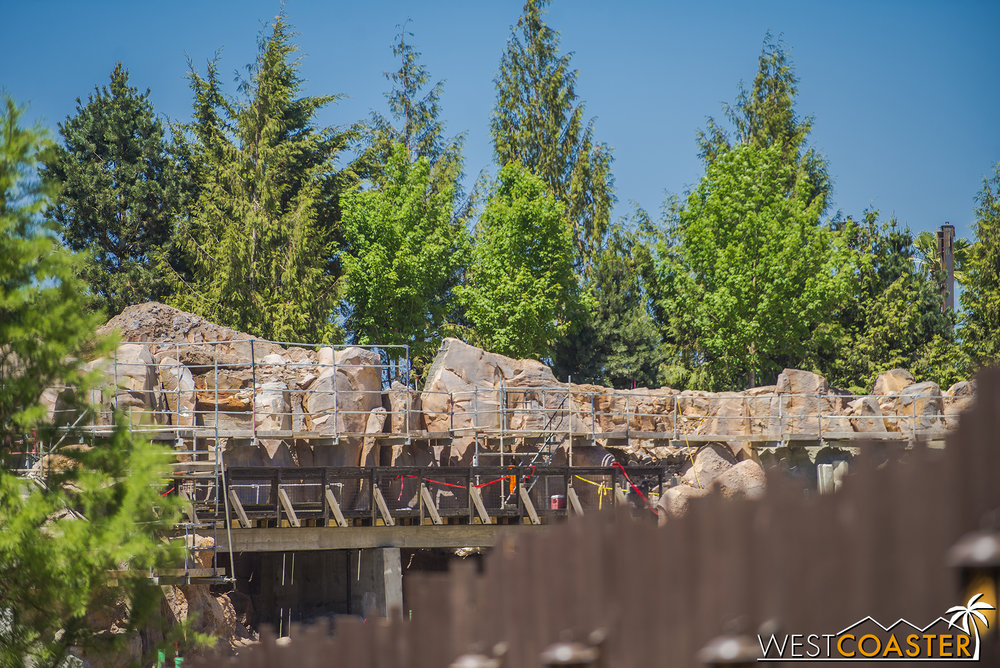 Peering over the work wall from the Hungry Bear walkway area.