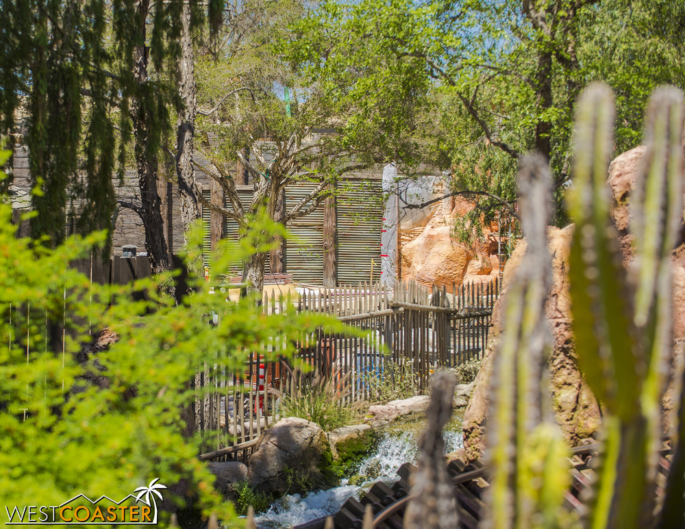 "Over on the Big Thunder Mountain side, those ""garage doors"" have been revealed to be retaining walls."
