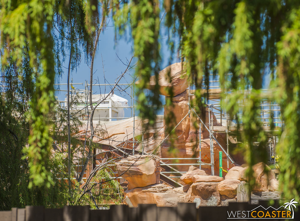 You can see how things will mimick the red sandstone of Big Thunder Mountain from this side.
