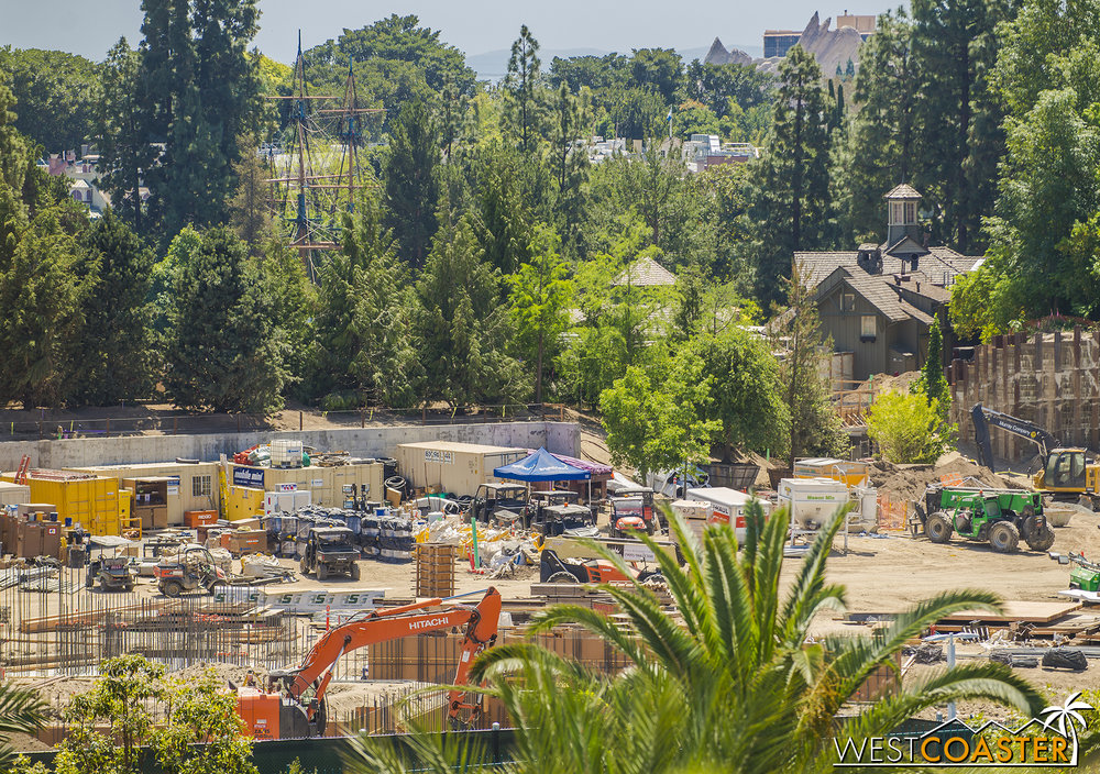 "And as we pan over toward the Hungry Bear, despite the added foliage, we can sort of see the progression of the Disneyland Railroad bridge that will span over the Critter Country entrance into ""Star Wars"" Land."