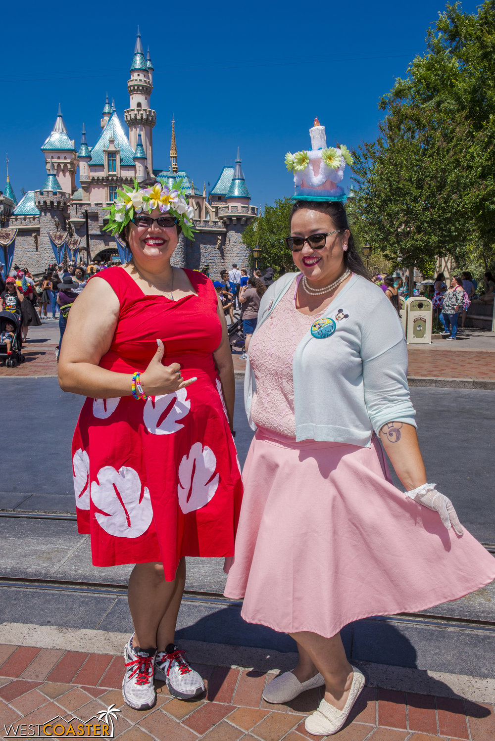Others, like my friends, Jill and Melissa (as Lilo from  Lilo and Stitch  and an Unbirthday Cake from  Alice in Wonderland ), opt for a more casual route, leaving the intricacies to the headpieces.