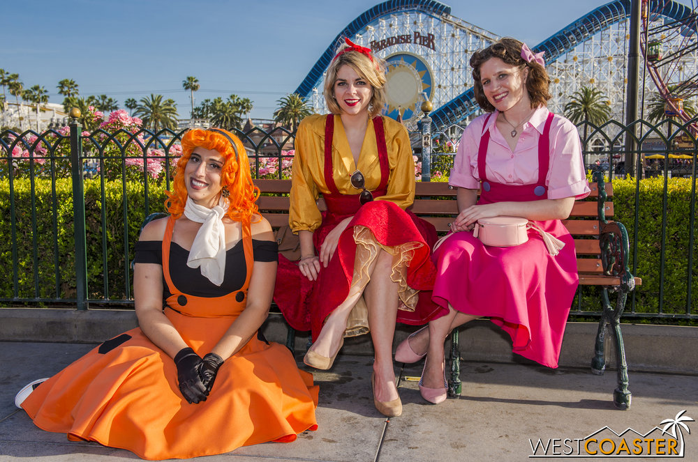 "Here's Tigger, Pooh, and Piglet again.  They may look adorable here, but at least one of these ladies will scare the ""Pooh"" out of you at Dark Harbor come Halloween season."
