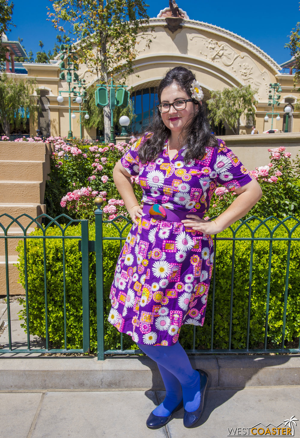 A lot of people thought my friend, Ashley (  @DisneylandMermaid   on Instagram), was a groovy 60s Disneybound of Rapunzel.  She actually wasn't, but that's part of the fun!