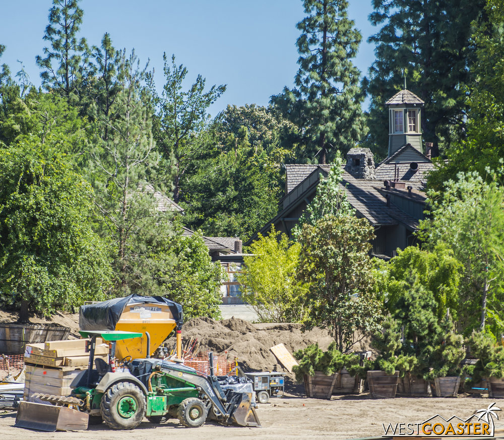 But through the trees, you can see some concrete spanning across where the Disneyland Railroad runs.