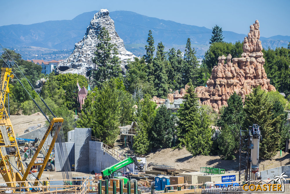 "Not too much visual change here... except that those concrete structures and ""watch towers"" from a couple of months ago seem to be getting rockwork applied."