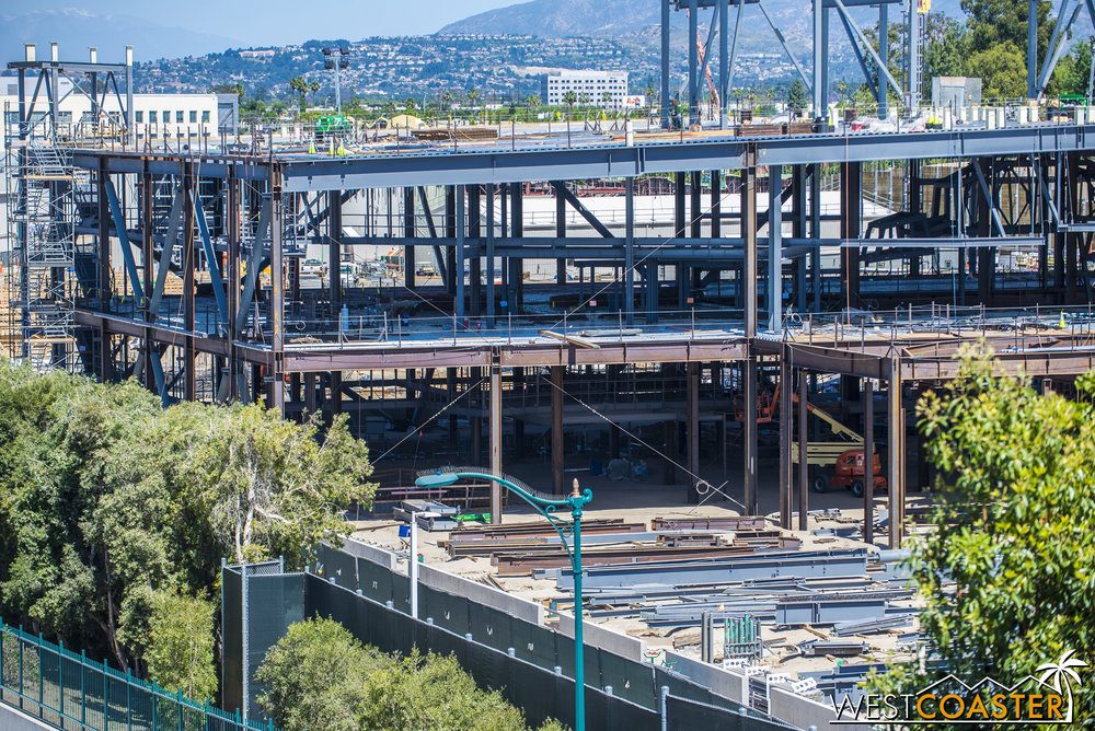 Not too much change on this side, at least not along the main skeleton.  But secondary steel framing to support ride elements seems to be progressing.
